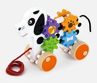 "Игрушка-каталка Viga Toys ""Щенок"",  деревянная собачка, собака каталка на веревке"