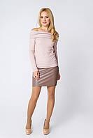 Модная короткая юбка из кожи Абра бежевая