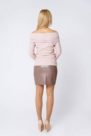 Модная короткая юбка из кожи Абра бежевая, фото 2