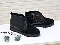 Ботинки черного цвета со шнуровкой из натуральной замши в комбинации с кожей питон