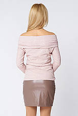 Модная короткая юбка из кожи Абра бежевая, фото 3