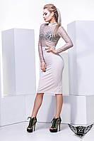 Платье верх гипюр, юбка карандаш с рукавами белое