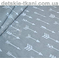 Ткань хлопковая с белыми стрелами на сером фоне (№ 593а)