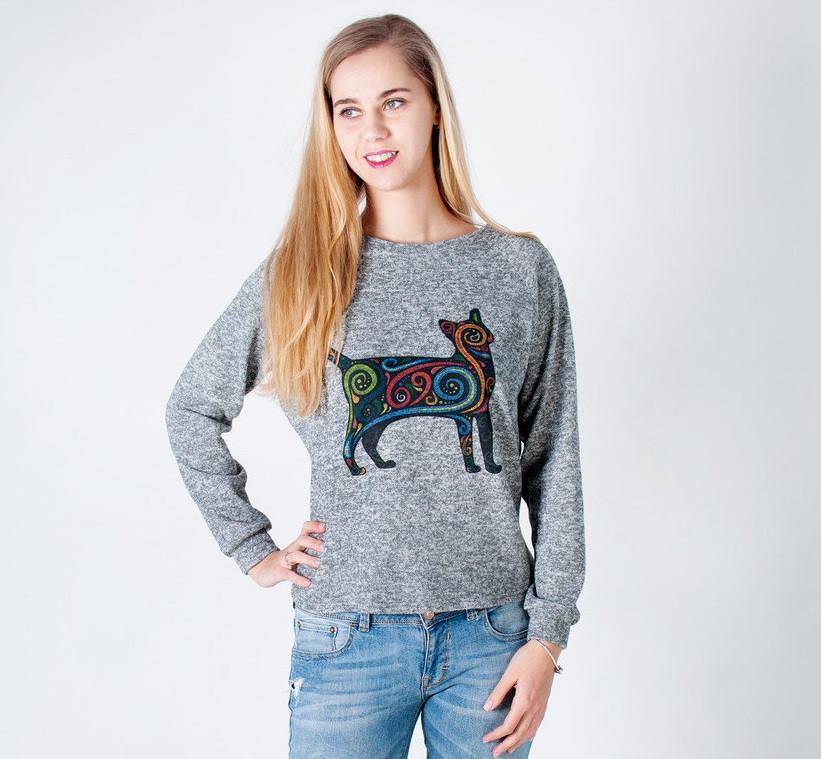 Оригинальный женский свитшот с кошечкой серого