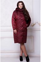 Женское демисезонное пальто СR-10566 марсала  Caramella 52-60 размеры