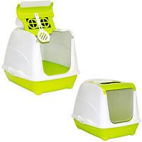 Moderna МОДЕРНА ФЛИП КЭТ закрытый туалет для кошек, с откидной крышкой, ярко зеленый, 50х39х37 см