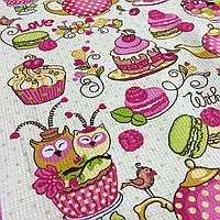 Вафельная ткань Чаепитие с совами и сладостями, ширина 50 см