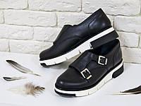 Туфли   из натуральной кожи черного цвета  с пряжками