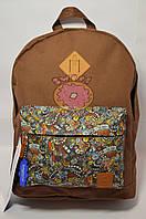 Рюкзак молодёжный Bagland коричневый принт