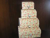 Набор бамбуковых шкатулок Нежный ситец 4 шт.