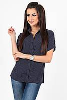 8bc0b8af54e Классическая женская рубашка в горошек прямого кроя на пуговицах с коротким  рукавом штапель