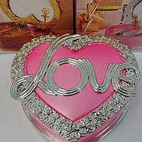 """Шкатулка  музыкальная в форме сердца """" Love"""" розовая"""