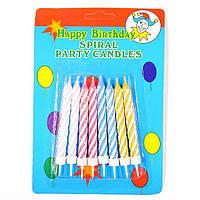 Набор свечей для торта, цветных (8 штук).