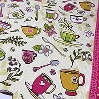 Вафельная ткань Чаепитие с чашками и ложками, ширина 50 см
