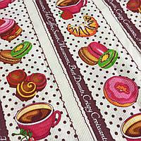 Вафельная ткань с кофе и сладостями, ширина 50 см