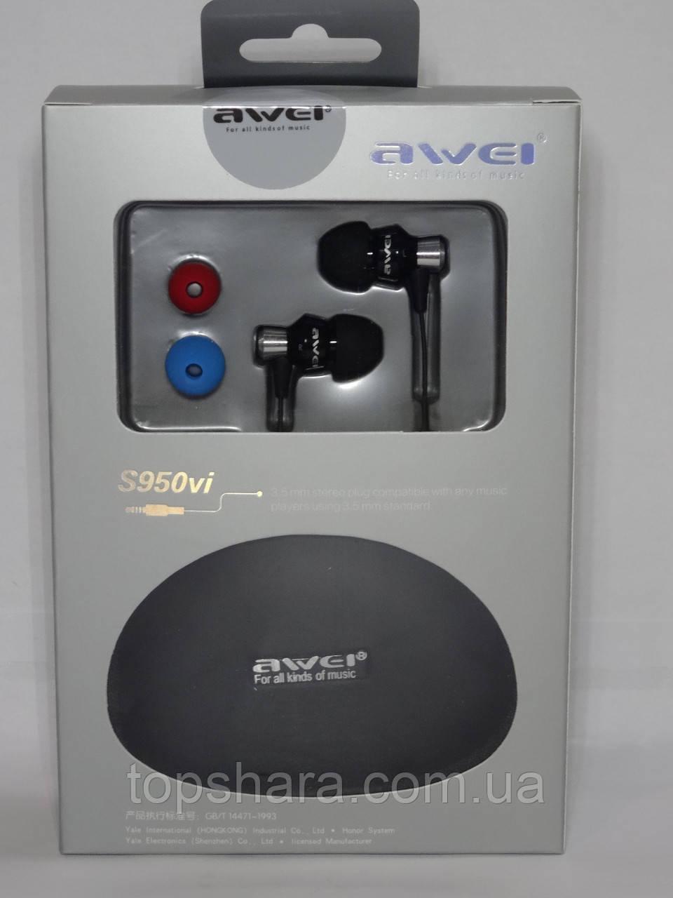 Наушники вакуумные Awei S950vi с микрофоном, в комплекте чехол, черные