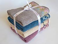 Махровое лицевое полотенце 100х50см (ромбы, бант)