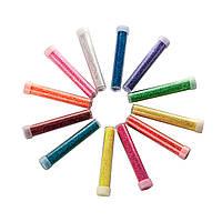 Набор песка для дизайна ногтей, в колбах 12 шт, яркий