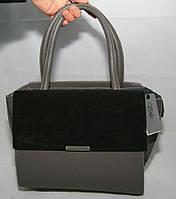 Серая женская каркасная сумка Voila (Wallaby), комбинированная замша