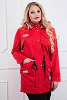Стильная красная демисезонная парка  CR-10545-RED Caramella 48-62 размеры