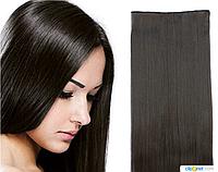 Накладные волосы локоны на клипсах,шиньон,трессы 60 см цвет натуральный черный