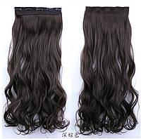 Вьющиеся тресы,накладные волосы на зажимах тёмно-руссый
