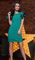 Неповторимое женское платье полуприлегающего фасона с рюшами на рукавах креп