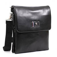 Мужская сумка Gorangd 9893-2 черная искусственная кожа трансформер расширяется по дну 17см х 21см х 5(7) см