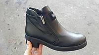 Женские весенние черные кожаные ботинки  Rendi с 2 змейками.