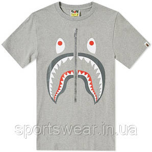 "Футболка  серая  AAPE By A Bathing Ape Shark face  мужская """" В стиле Bathing Ape """""