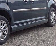 Volkswagen Caddy 2004-2010 гг. Боковые пороги Дьюз-модель (под покраску)