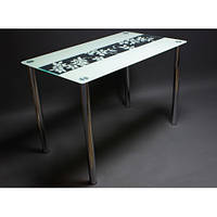 "Стеклянный стол  ""Цветы рая"" белый"