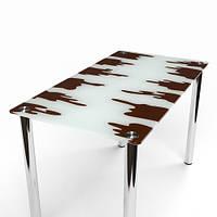 """Стеклянный обеденный стол """"Шоколадный"""""""