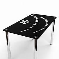 """Прямоугольный стеклянный стол """"Цветочный Салют"""""""
