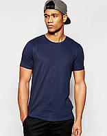 Мужская футболка Nike т.синяя(с маленьким принтом)