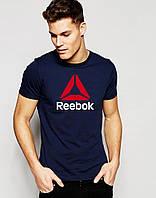 """Мужская  синяя футболка Reebok(с большим принтом) """""""" В стиле Reebok """""""""""