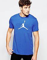 """Мужская футболка """"Jordan"""" синяя с белым принтом"""