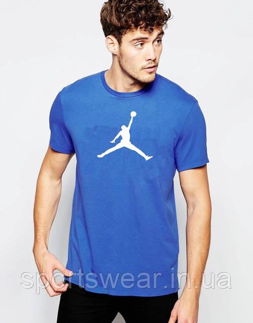 6fbf24df7dce Мужская футболка Jordan синяя с белым принтом  заказ, цены в Днепре ...