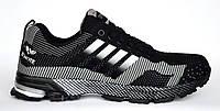 Кроссовки мужские (реплика Adidas Marathon) серо-черные. Размеры 41, 42, 43, 44, 45, 46. Bonote 8523-1.