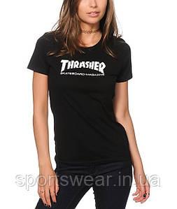"Футболка женская Thrasher Skate Mag Logo  ( Черная ) """" В стиле Thrasher """""