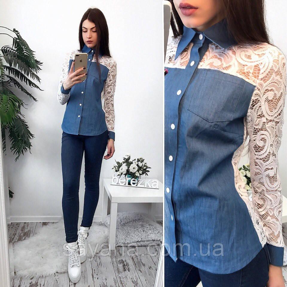 a88db1ab746 Женская джинсовая рубашка с кружевом. Сф-2-0217