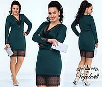 Модное  зеленое трикотажное платье батал, отделка кружевом. Арт-9957/41