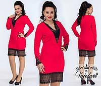 Модное красное  трикотажное платье батал, отделка кружевом. Арт-9957/41