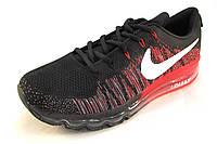 Кроссовки мужские  Nike Flyknit Air Max текстиль, черно-красные(найк аир макс)(р.43,44)