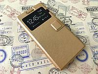 Кожаный чехол книжка для Huawei Ascend P6 золотистый