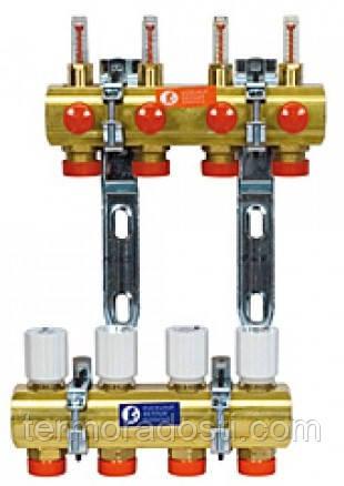 Коллектор теплого пола (5 отводов) Giacomini R553FY005 (с расходомерами)