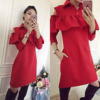 Короткое красное  женское платье с воланами на плечах. Арт-9964/71