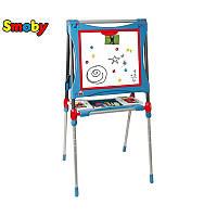 Двусторонний металлический магнитный мольберт для рисования Smoby 410202 голубого цвета