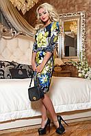 Cтильное женское платье с цветочным принтом M, бирюза