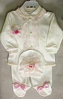 Костюм для новорожденных с кружевами, на девочек 3-6 мес. Ползунки, кофточка, шапочка. Турция, оптом